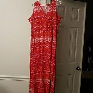 Red, tie dye maxi dress
